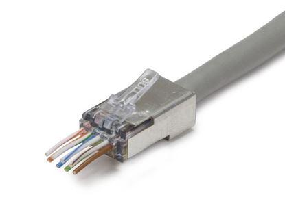 Picture of PLATINUM TOOLS ezEX 44 Shielded Cat6 Plug. Integrated Hi-Lo stagger