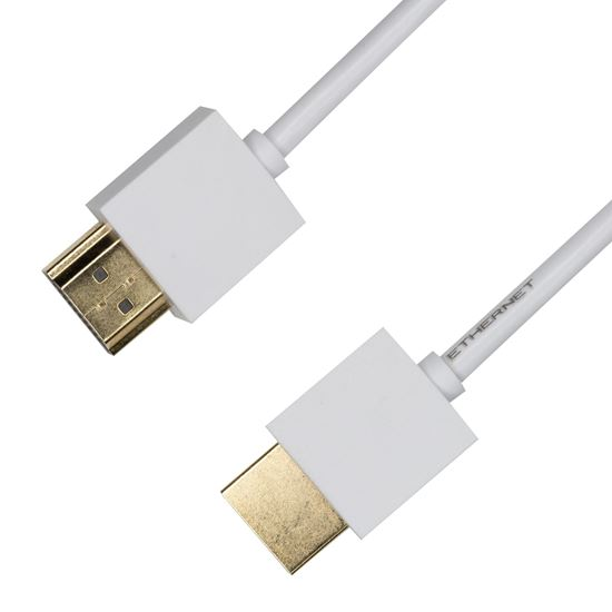 Picture of DYNAMIX 1.5M HDMI WHITE Nano High Speed With Ethernet Cable.