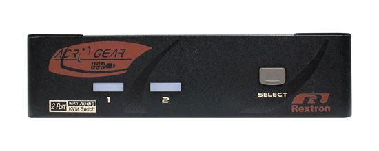 Picture of REXTRON 2 Port DVI/USB KVM Switch with Audio, Black Colour.