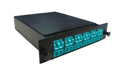 Picture of DYNAMIX MPO OM3/4 12 Port LC Duplex Multimode 24 Fibre Cassette.