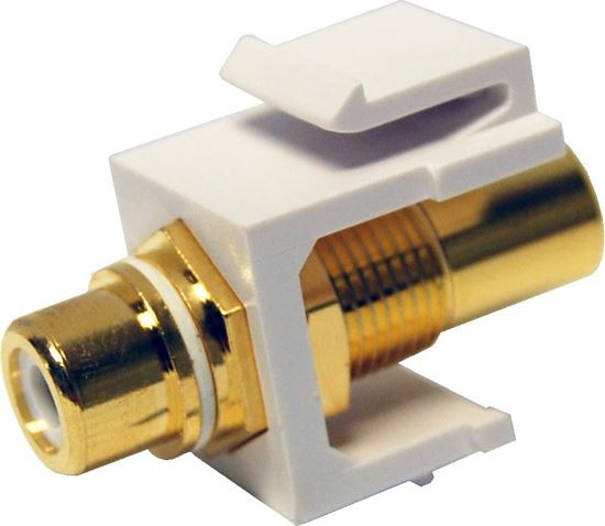 Picture of DYNAMIX White RCA to RCA Keystone Adapter. Gold Plated