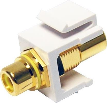 Picture of DYNAMIX Yellow RCA to RCA Keystone Adapter. Gold Plated