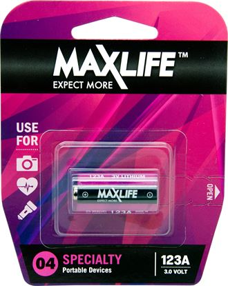 Picture of MAXLIFE 123A Lithium 3V Battery. 1Pk.
