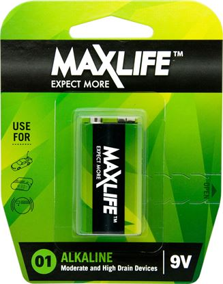 Picture of MAXLIFE 9V Alkaline Battery 1 Pack Long Lasting Alkaline Formula.