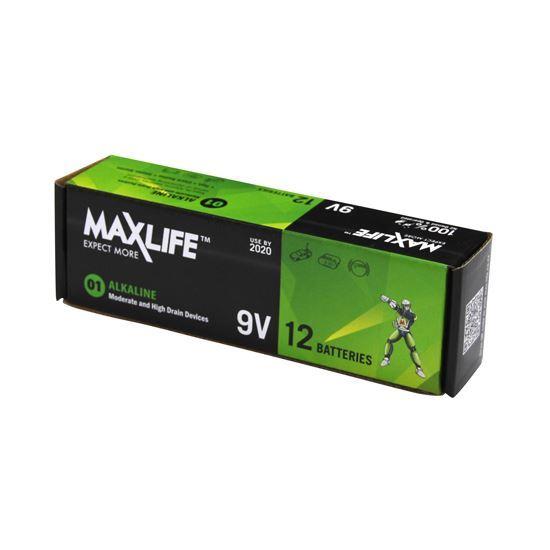 Picture of MAXLIFE 9V Alkaline Battery 12 BULK Pack