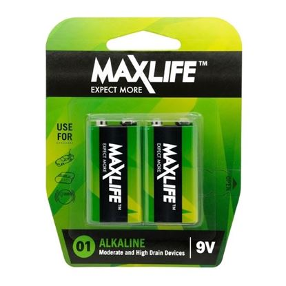 Picture of MAXLIFE 9V Alkaline Battery 2 Pack Long Lasting Alkaline Formula.