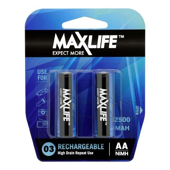Picture of MAXLIFE AA Rechargeable Battery NIMH 2500mAh. 2Pk.