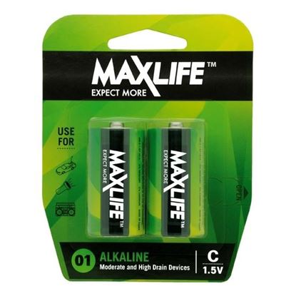 Picture of MAXLIFE C Alkaline Battery 2 Pack Long Lasting Alkaline Formula.