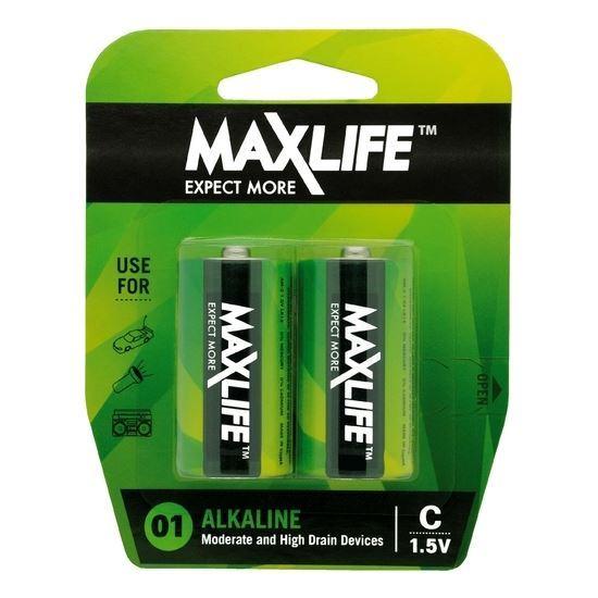 Picture of MAXLIFE C Alkaline Battery 2 Pack Long Lasting Alkaline Formula.