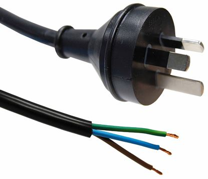 Picture of DYNAMIX 3M 3-Pin Plug to Bare End, 3 Core 1mm Cable, Black Colour SAA