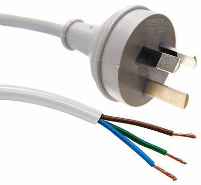 Picture of DYNAMIX 3M 3-Pin Plug to Bare End, 3 Core 0.75mm Cable, White