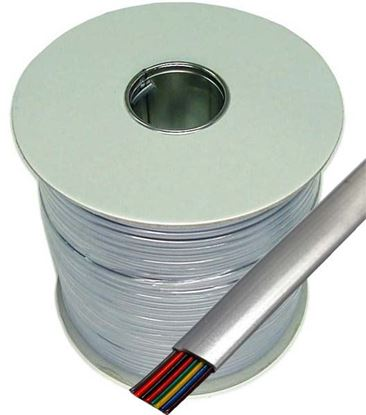 Picture of DYNAMIX 300m Roll 8-Wire Flat Cable, Silver colour, supplied on