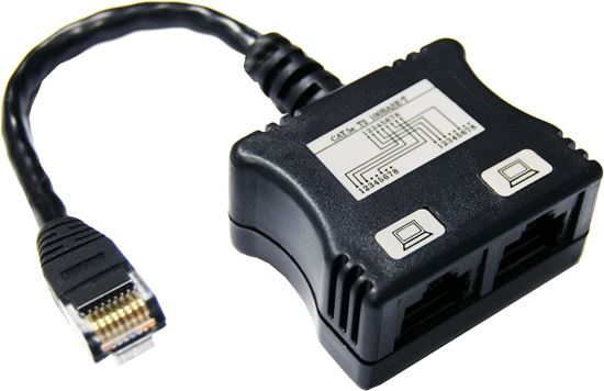 Picture of DYNAMIX RJ45 Dual Adapter (2x UTP devices) with short cable.