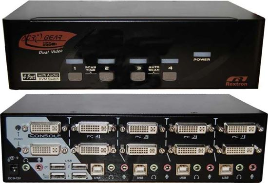 Picture of REXTRON 4 Port Dual-View DVI/USB KVM Switch with Audio.