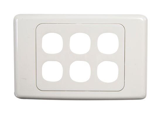 Picture of AMDEX Six Port RJ45 Face Plates. AMDEX style.