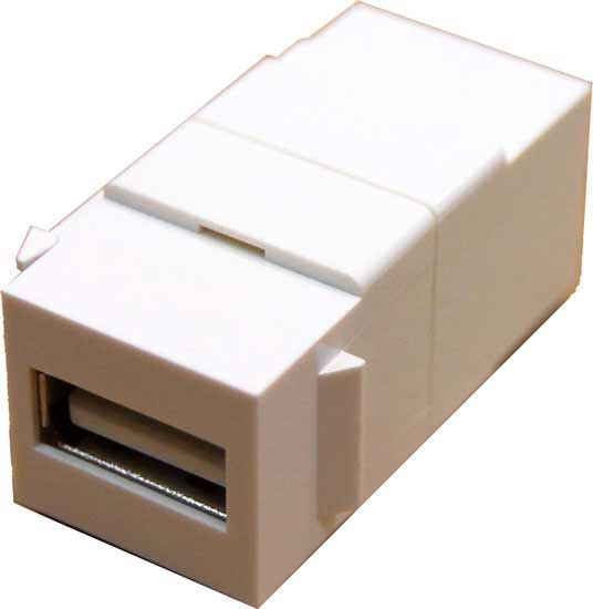 Picture of DYNAMIX USB2.0 Keystone Jack. Type-A Female to Female Connectors.
