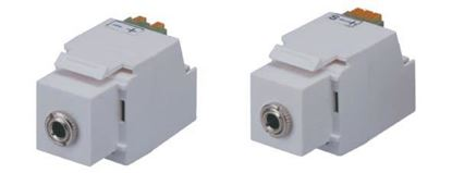 Picture of DYNAMIX Keystone Stereo Socket for HWS range. White Colour.