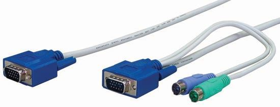 Picture of REXTRON 6m, 3-to-1 PS2 KVM Switch Cable All in one HD DB15