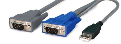 Picture of REXTRON 1.8m, 2-to-1 USB KVM Switch Cable All in 1x HD DB15