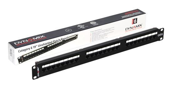 """Picture of DYNAMIX 24 Port 19"""" Cat6 UTP Patch Panel with plastic labelling"""