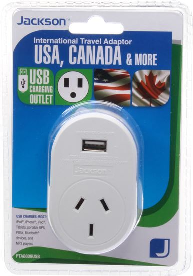 Picture of JACKSON Outbound Travel Adaptor With 1x USB Charging Port.