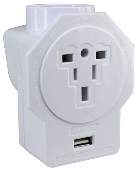 Picture of JACKSON Inbound Travel Adapter with 1x 1A USB port. With Surge