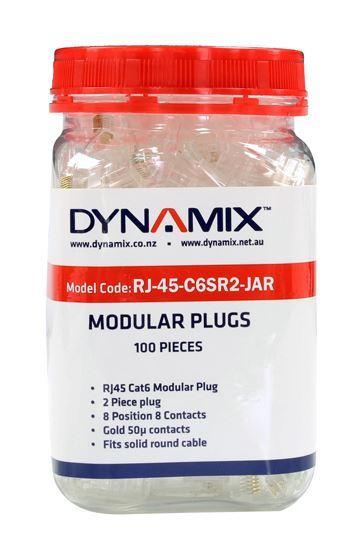 Picture of DYNAMIX Cat6 RJ45 Plug 100pc Jar, 8P8C 2 Piece Modular Plug (Rounded