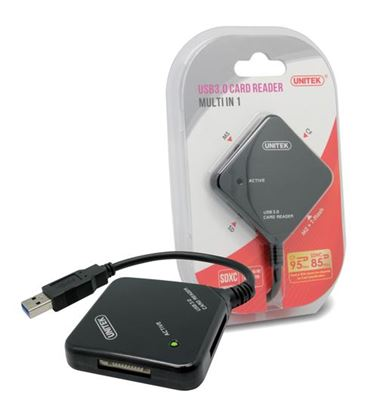 Picture of UNITEK USB 3.0 Multi-In-One Card Reader with 4x Memory Card Slots.