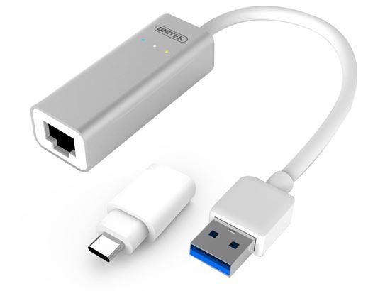 Picture of UNITEK USB3.0 to Gigabit Ethernet Adaptor. Wake-on-LAN full duplex.