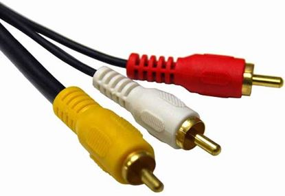 Picture of DYNAMIX 20m RCA Audio Video Cable, 5 to 3 RCA Plugs. Yellow RG59
