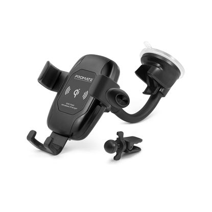 Picture of PROMATE Qi Wireless Car Charging Mount Kit with Bluetooth Headset.