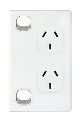 Picture of TRADESAVE Double 10A Vertical Power Point. Removable Cover.