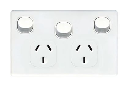 Picture of TRADESAVE Double 10A Horizontal Power Point with Extra 16A Switch.