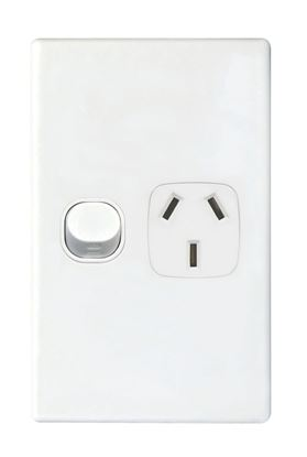 Picture of TRADESAVE Single 10A Vertical Power Point. Removable Cover. Moulded in