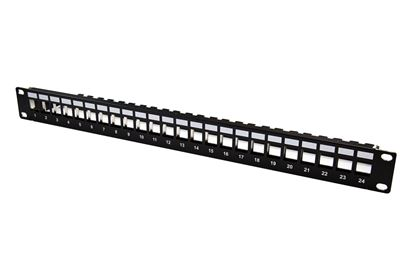 Picture of DYNAMIX Horizontal 19' 1RU Unloaded 24 Port UTP Patch Panel, Keystone