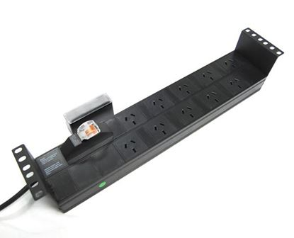 Picture of DYNAMIX 10 Outlet 2RU Horizontal Power Rail (10A) with 6kVa C-Curve