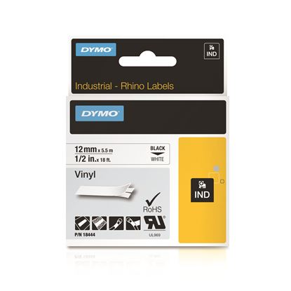 Picture of DYMO Genuine Rhino Industrial Vinyl Labels.12mm x 5.5m. Black on White.