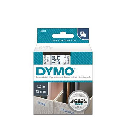 Picture of DYMO Genuine D1 Label Cassette Tape 12mm x 7M, Blue on White.