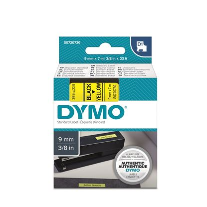 Picture of DYMO Genuine D1 Label Cassette Tape 9mm x 7M,  Black on Yellow