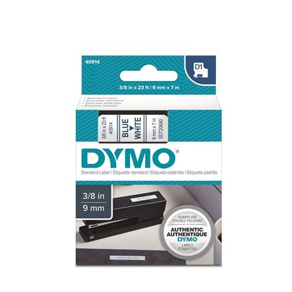 Picture of DYMO Genuine D1 Label Cassette Tape 9mm x 7M,  Blue on White
