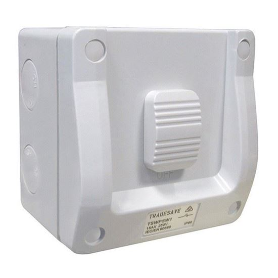 Picture of TRADESAVE 1 Gang Weatherproof Switch, 15A, IP66, Grey heavy duty