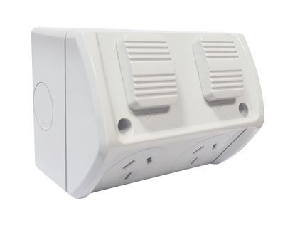 Picture of TRADESAVE Weatherproof Double IP53 Outlet. Grey Heavy Duty