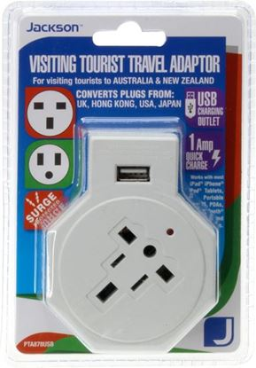 Picture of JACKSON Travel Adaptor with 1x USB Charging Port and Surge Protection.
