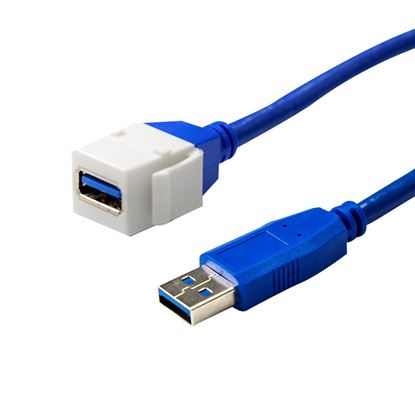 Picture of DYNAMIX USB3.0 200mm Keystone Jack Type-A to Male Type-A Connector.
