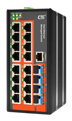 Picture of CTC UNION 16 Port Fast Ethernet Managed Switch.-10~60C.