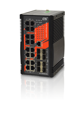 Picture of CTC UNION Industrial grade 16 Port Gigabit Managed PoE+ Switch. 8x Gbe