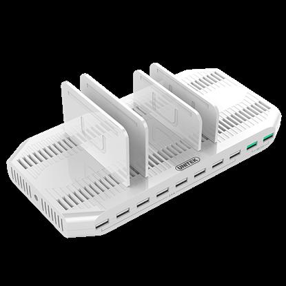 Picture of UNITEK 10 Port USB Smart Charging Station (8 Port 2.4A USB-A + 2x