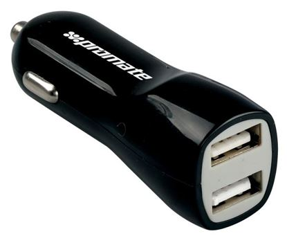 Picture of PROMATE 3100mA Dual Port USB Car Charger. 3.1A Total Output.