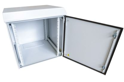 Picture of 9RU Outdoor Wall Mount Cabinet.