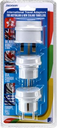 Picture of JACKSON Pack of 3 Travel Adapters NZ/AU Socket to US, UK, Europe Plug